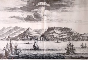 ZANTE . in 1678. Drawn by Pieter Schei. Engraver Daniel Stopendaal . Published in the book of Olfert Dapper Perigrafi tou Morea, Amsterdam 1688.