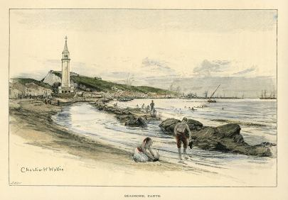 ZANTE . Seashore by Charles W. Wyllie, 1892