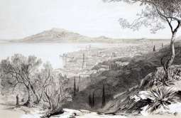 ZANTE . view from the castle hill, looking towards monte skopo, zante, by Edward Lear, c. 1863