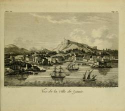 ZANTE - Vue de la villa de Zante , late 18th century , from Voyage historique par André-Grasset Saint-Sauveur, vol. III, Paris, by Tavernier, 1820.
