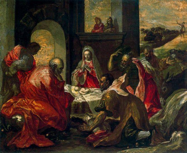 EL GRECO - La Adoración de los pastores (1567-1570). Temple sobre tabla, Willumsen Museum.