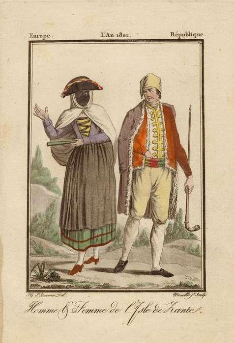 ZANTE - Homme et femme de l´isle de Zante (1787). Jean Marie Mixellle, engraver, on a drawing by Jacques   Grasset de Saint-Sauveur. 1784.