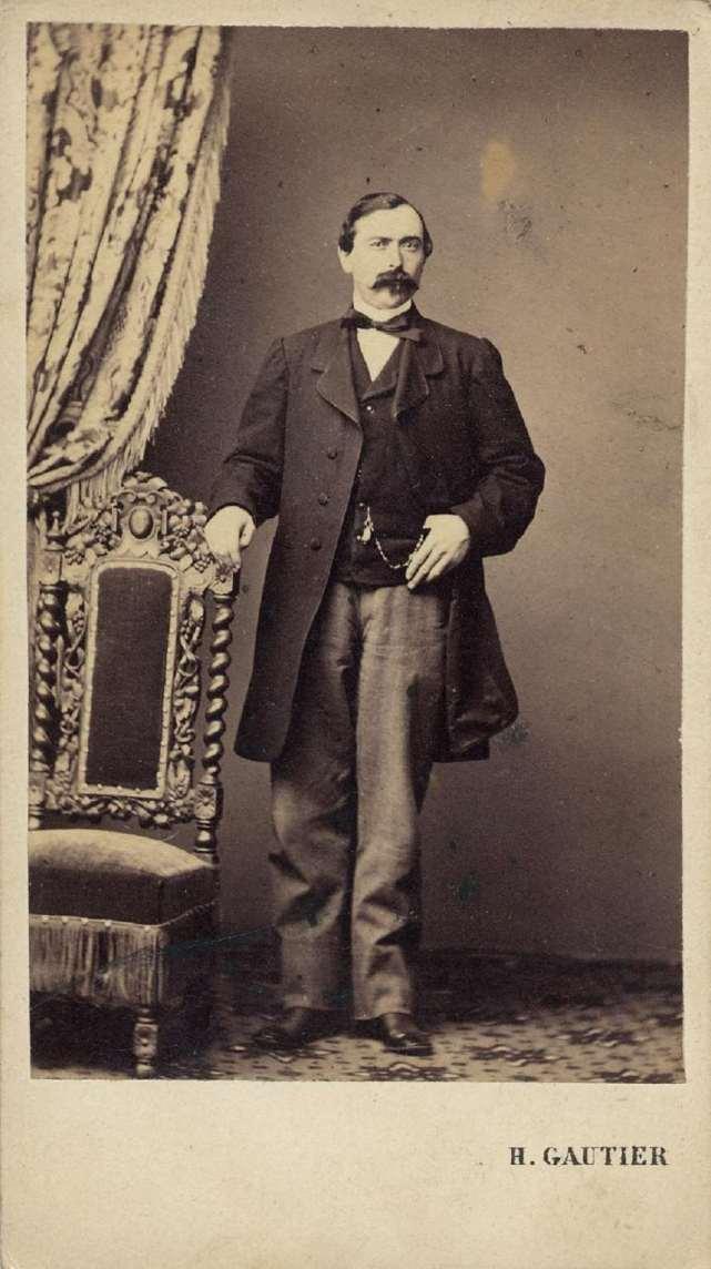 1865. FOTOGRAFOS ESPAÑOLES - Gautier, H., Madrid. Caballero de pie. Carte de visite ca. 1865. Hesperus´ Collection