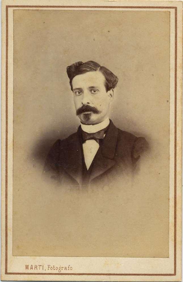 1868. FOTOGRAFOS ESPAÑOLES - Marti , Juan, Barcelona. Retrato de caballero,  carte de visite 1868. Album Reig, Hesperus´ Collection