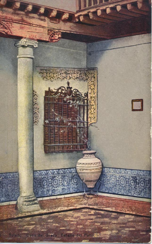 casa del Greco, detalle de Patio - carte postale de Heliotipia Artística Española, 1910s. Hesperus´Collection