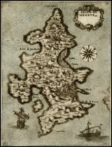 ZANTE XARTES - Isola de Zante by Donato Bertelli, Venice 1574 ca, engraver Natale Bonifacio (hand colored)
