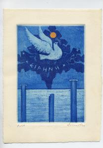 DIMITRI - Paz, grabado dñecada de 1980, achivo de artista