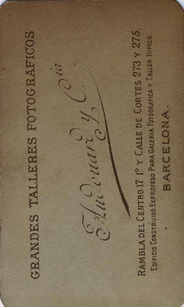 1880. FOTOGRAFOS ESPAÑOLES - Audourd y Cia (Pau Audourd, 1857-1918), Barcelona. Retrato de dama, carte de visite, reverse,  ca. 1880.  Album Reig, Hesperus´ Collection