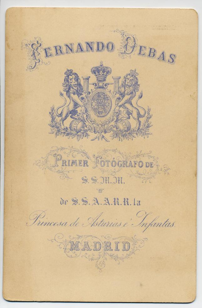 1880. FOTOGRAFOS ESPAÑOLES - Debas, Fernando, Madrid. Reverso, Cabinet ca. 1880. Album Sotomayor, Hesperus´ Collection