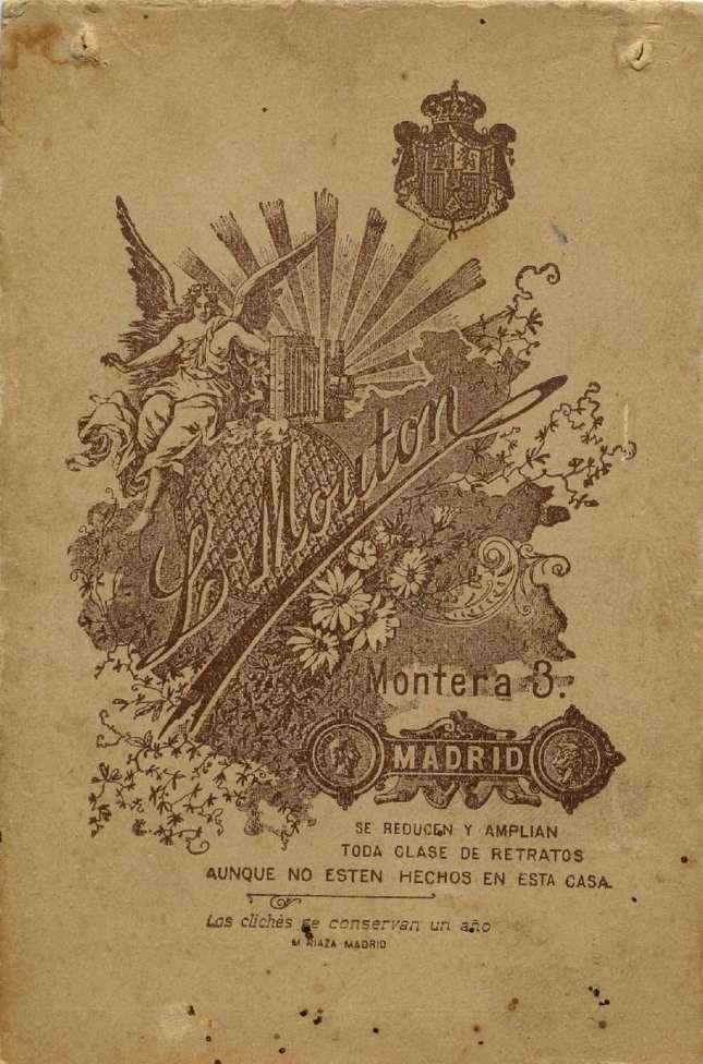 1880. FOTOGRAFOS ESPAÑOLES - Mouton , L., Madrid (1860-1890). Retrato de caballero, formato 5,5 X 8,5cm, reverse, ca 1880. Hesperus´ Collection