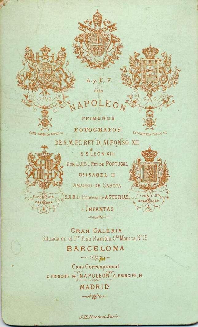 1880. FOTOGRAFOS ESPAÑOLES - Napoleon, Barcelona, Busto de dama, , carte de visite,  reverse, ca. 1880, Album Reig, Hesperus´ Collection)