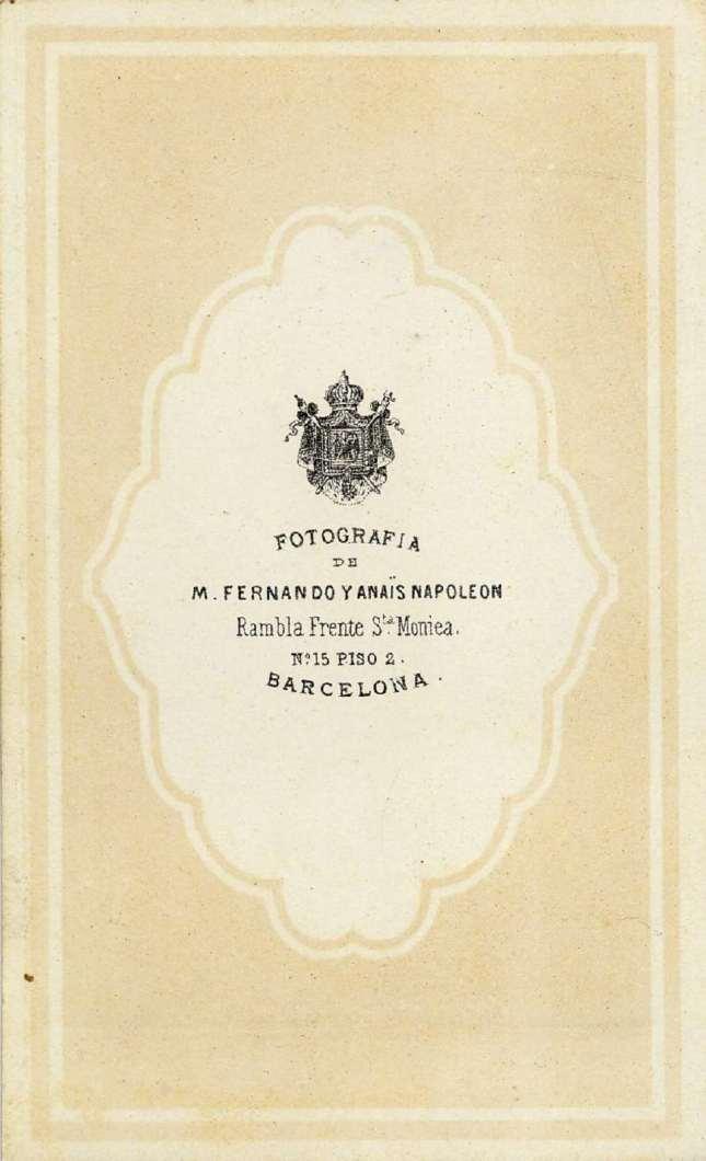 1880. FOTOGRAFOS ESPAÑOLES - Napoleon, Barcelona  ,  Retrato de  caballero, reverse, carte de visite, ca. 1880, Album Reig, Hesperus´ Collection)