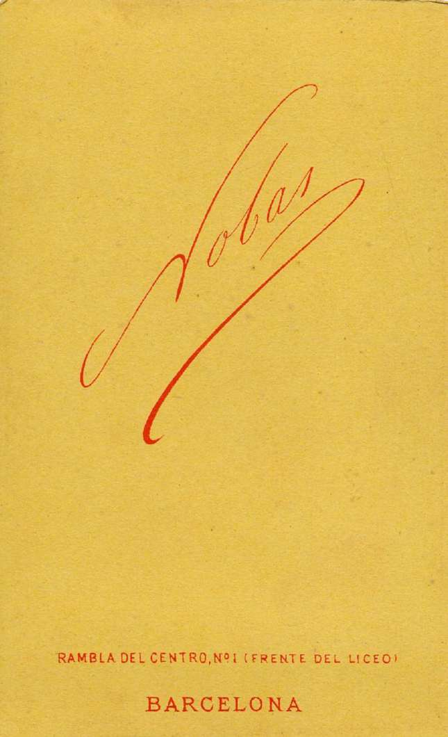 1880. FOTOGRAFOS ESPAÑOLES - Nobas, Narciso, Barcelona. Retrato de caballero, carte de visite, reverse,  ca. 1880. Album Reig, Hesperus´ Collection