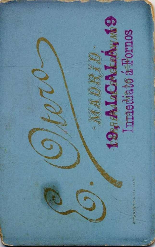 1880. FOTOGRAFOS ESPAÑOLES - Otero, E. Madrid, retrato de caballero, carte de visite,reverse, ca. 1880. reverse,  Hesperus´ Collection