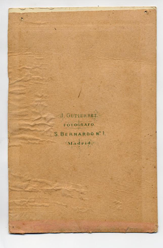 1880s. FOTOGRAFOS ESPAÑOLES - Gutierrez, J., Madrid. Reverso de formato Cabinet, ca. 1880. Album Sotomayor, Hesperus´ Collection