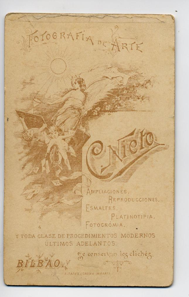 1880s. FOTOGRAFOS ESPAÑOLE$S - Nieto, C., Bilbao. Reverso de CDV, 1880s. Album Sotomayor, Hesperus´ Collection
