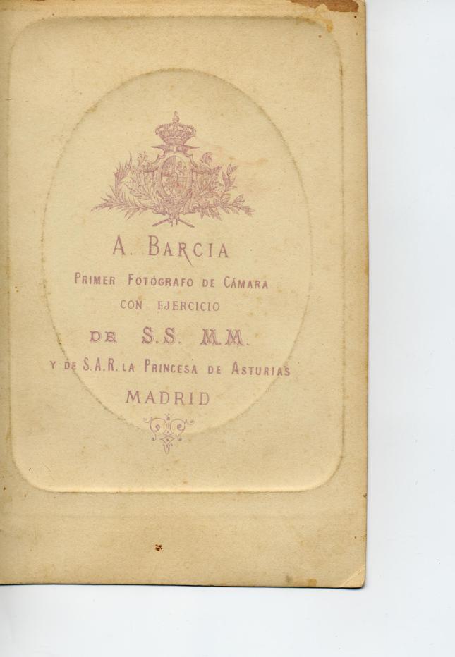 1882. FOTOGRAFOS ESPAÑOLES - Barcia, R., Madrid. Reverso de Cabinet, ca. 1882. Hesperus´ Collection