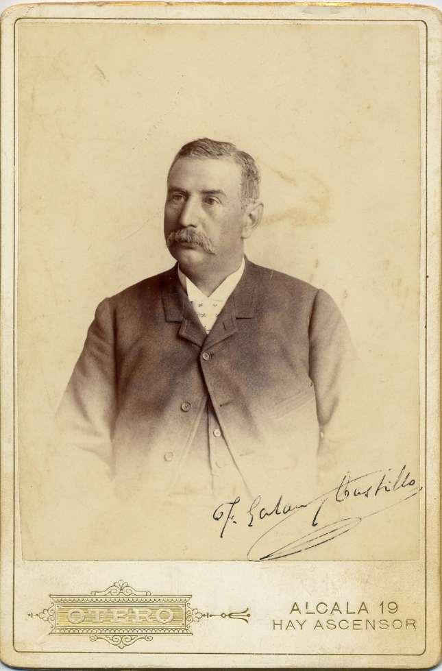 1885. FOTOGRAFOS ESPAÑOLES - Otero ((1841-1905), Madrid. Foto de F. Galán y Bustillo, formato cabinet , ca. 1885.  Album Lopez, Hesperus´ Collection