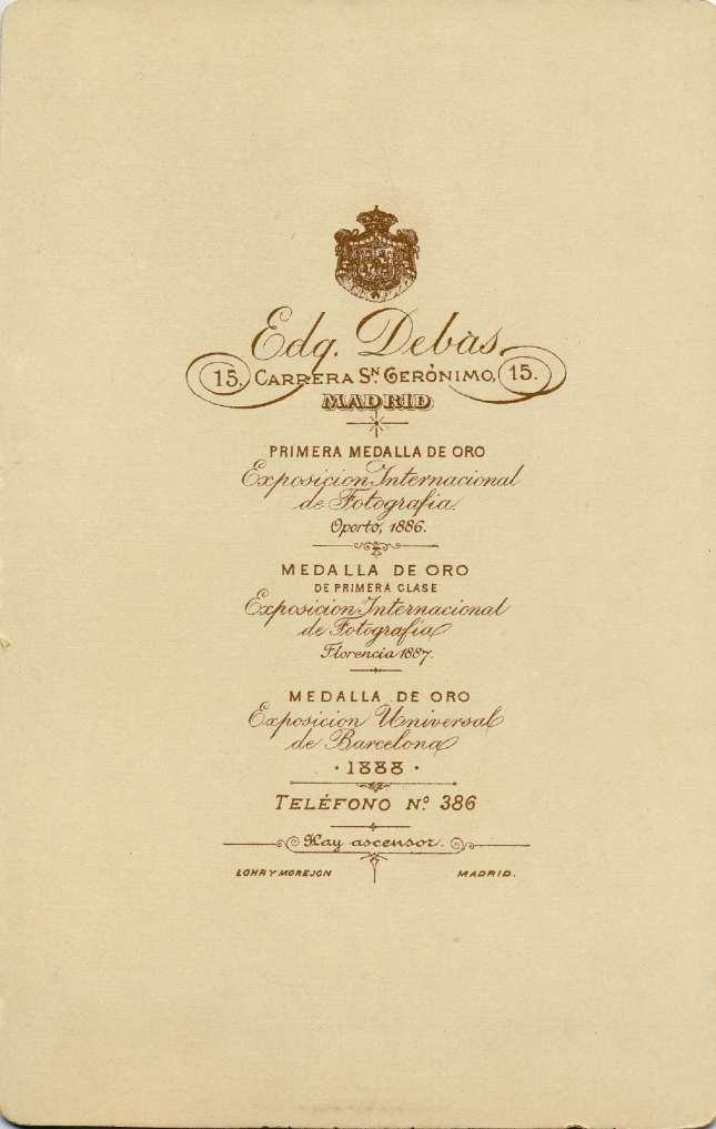 1888. FOTOGRAFOS ESPAÑOLES - Debas, Edg., Madrid. Alfonso XIII, cabinet, reverse,  1888. Album Lopez, Hesperus´ Collection