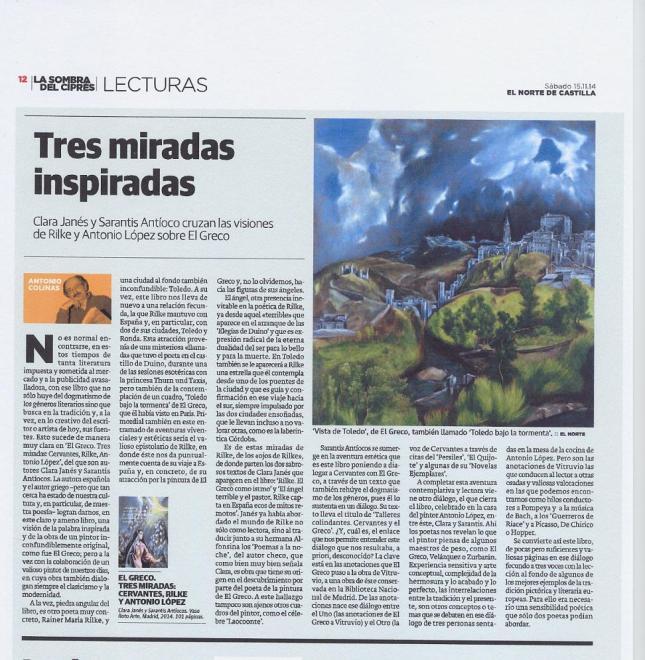 ELGRECOTRESMIRADS - reseña del poeta Antonio Colinas