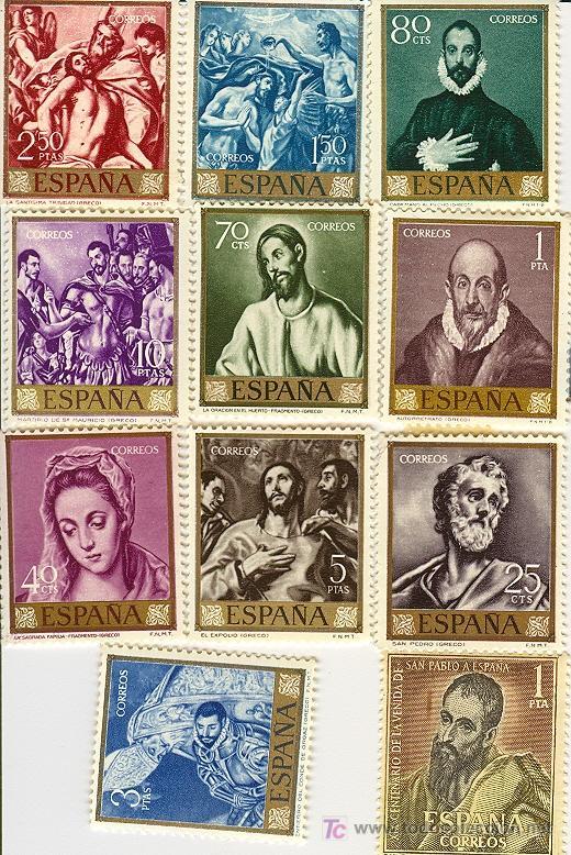 el-greco-en-la-filatelia-espana-12-sellos-de-1961