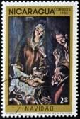 el-greco-en-la-filatelia-nicaragua-circa-1983-un-sello-impreso-en-nicaragua-muestra-el-cuadro-quot-adoracion-de-los-pastores