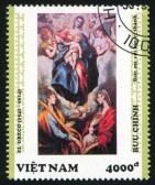 el-greco-en-la-filatelia-vietnam-circa-1992-sello-impreso-por-viet-nam-muestra-virgen-y-el-nino-con-los-santos-ines-y-tecla