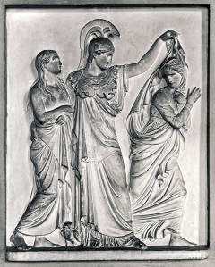 Maitland monument, basso relievo. Minerva, Virtue and Vice,  by Thorrvaldsen, 1818.