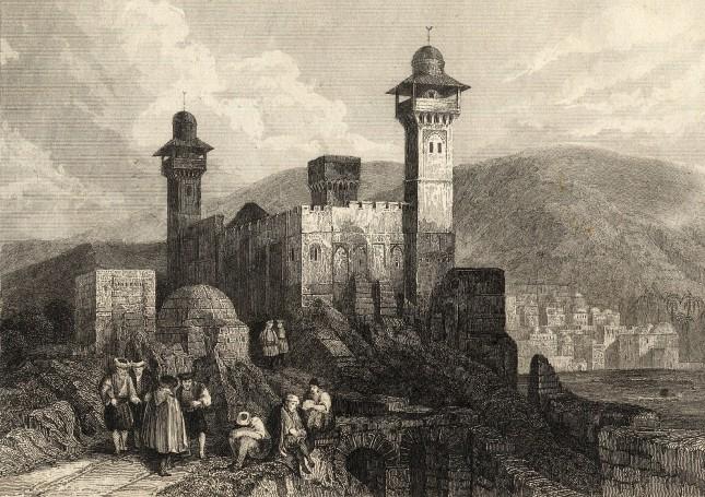 TIERRA SANTA - Mezquita erigida en hebron sobre el solar del Sepulcro del patriarca Abrahan - grav. Lemaître, 1842