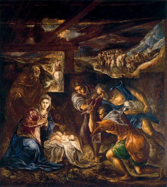 EL GRECO - La Adoración de los pastores (1570-1576). Óleo sobre lienzo. Colección Duque de Buccleuch, Kettering, Northamptonshire